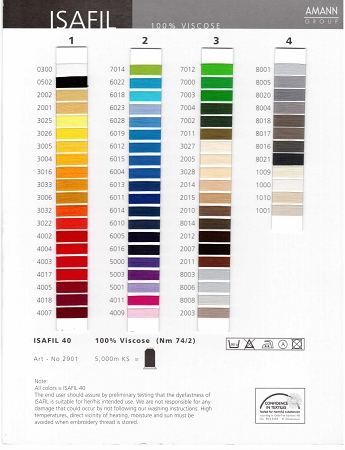 Isafil Rayon Color Card